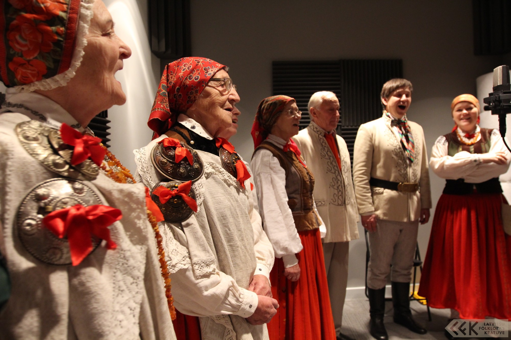 The Otaņķi Ethnographic Ensemble at Sound Recording Studio of the National Library of Latvia in 2015. Photo by Aigars Lielbārdis